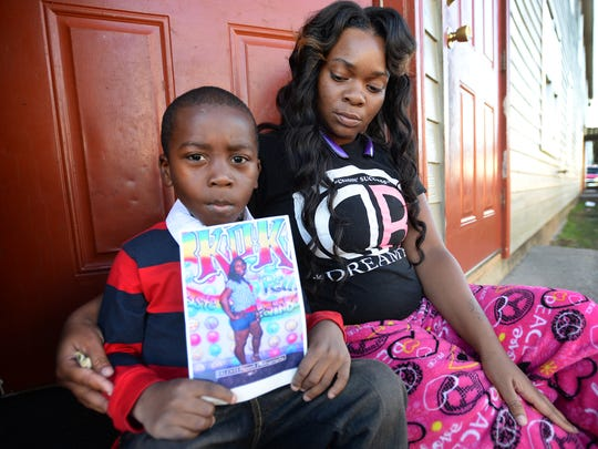 Six-year-old Deandre Jones was three when he witnessed the murder of his mother, Latonya Jones, in 2012.  Just before Deandre was born, his own father was murdered. He's now being taken care of by his aunt, 23-year-old Jessica Jones (right). Deandre identified the killer to investigators, but to date Latonya's murderer has not been caught.