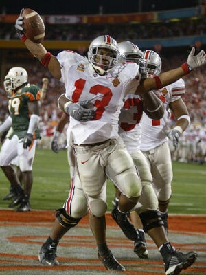 Maurice Clarett scores the game-winning touchdown for Ohio State in the 2003 Fiesta Bowl at Sun Devil Stadium in Tempe.