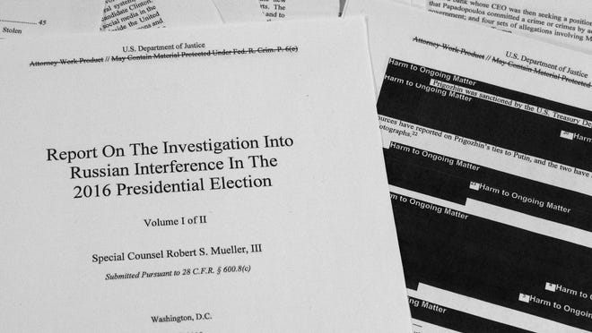 Special counsel Robert Mueller's redacted report on Russian interference in the 2016 presidential election as released on Thursday.