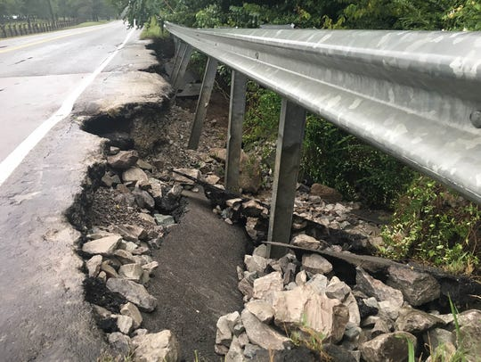A piece of Lewisburg Pike is impassable after Thursday