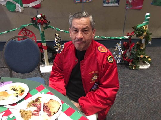 Former Marine Matthew Edward Gonzales was one of a few hundred who enjoyed a Christmas Day meal at Temple Adat Elohim in Thousand Oaks.