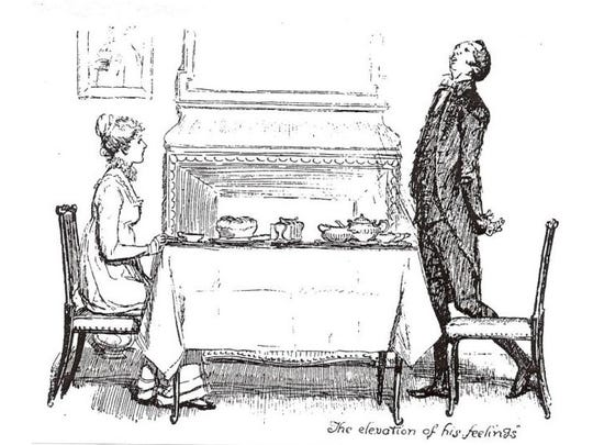 """Jane Austen's """"Pride and Prejudice"""" heroine, Elizabeth Bennett, and her lovelorn cousin, Mr. Collins, at breakfast. The meal depicted in this image is historically accurate."""