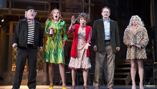 "Daniel Davis (left to right), Kate Jennings Grant, Andrea Martin, Campbell Scott and Megan Hilty star in ""Noises Off."""