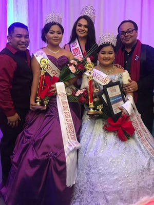 Little Miss Guam 2017 winners were crowned on Sept. 16, 2017 at the Onward Beach Resort Guam. From left: Adam Diego-Castro, Leah's Fabulous Productions executive director; Little Miss Guam 2017 Chelsey Ogo; Miss Pacificana 2016 Myah Rojas; Little Miss Guam Junior 2016 Keirtyn San Nicolas; Jerome Tomagan, Leah's Fabulous Productions owner and director.