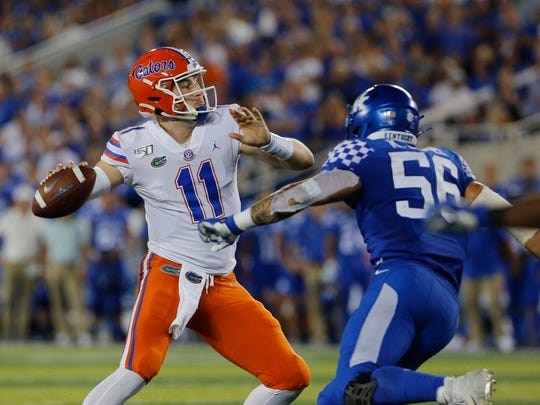 Gators quarterback Kyle Trask (11) came on in relief of an injured Feleipe Franks on Saturday against Kentucky.