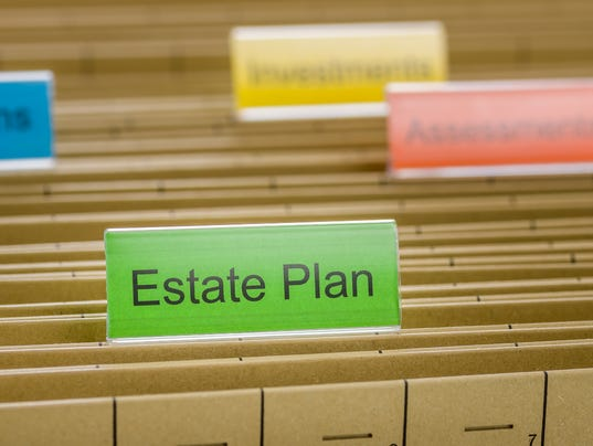Hanging file folder labeled with Estate Plan