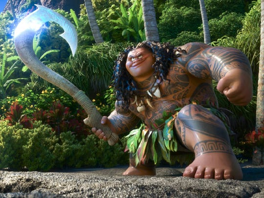 Maui (voiced by Dwayne Johnson) boasts a large ego