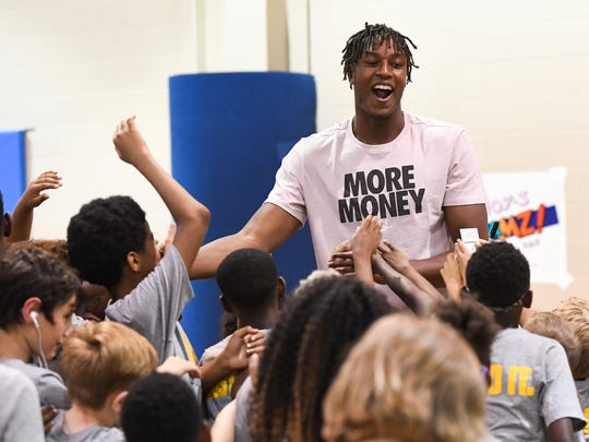 Indiana Pacer Myles Turner greets campers at the 7th annual Trevor Booker Basketball Camp in Mauldin Friday, June 15, 2018.