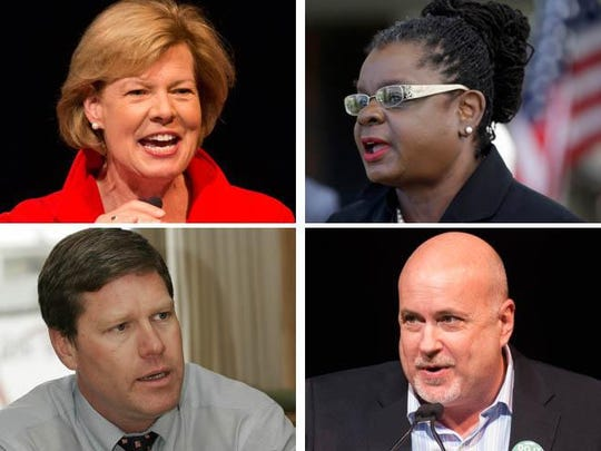 U.S. Sen. Tammy Baldwin (clockwise from upper left) and U.S. Reps Gwen Moore, Mark Pocan and Ron Kind, Wisconsin Democrats.