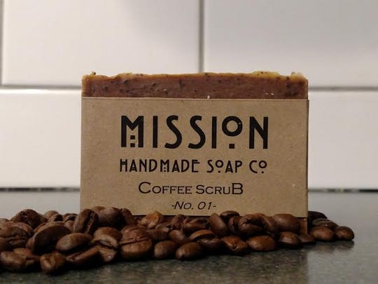 Mission Handmade Soap. Soap made out of coffee and cocoa is all natural, exfoliates and energizes skin.