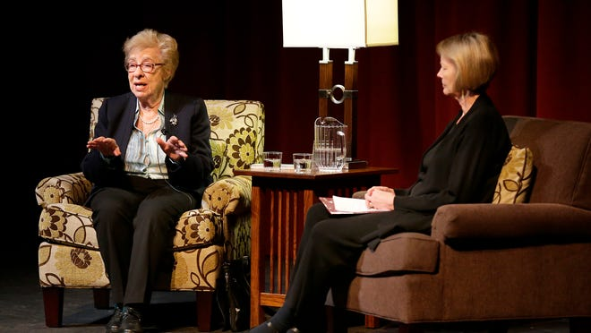Holocaust survivor Eva Schloss shares her experiences during an event Wednesday at Perry Hall at the University of Wisconsin-Fox Valley in Menasha.