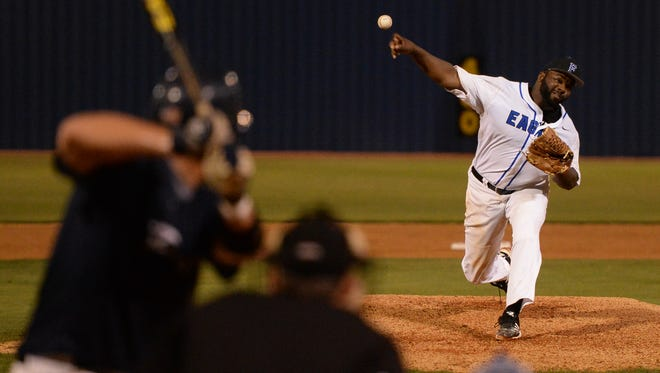 Faulkner's Jay Gause records one of his 16 strikeouts in Monday night's victory over Point.