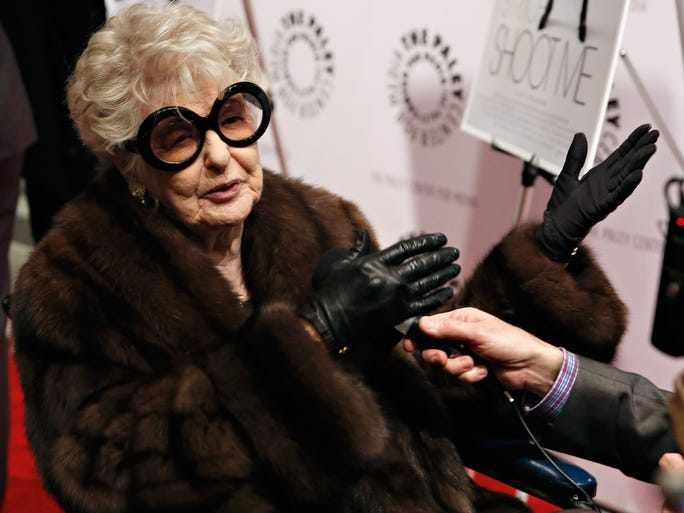 """Stage and screen star Elaine Stritch has died at the age of 89. The Detroit native was known for her scene-stealing presence and last-call whiskey voice.   The actress attends the """"Elaine Stritch: Shoot Me"""" screening on Feb. 19, 2014 in New York."""