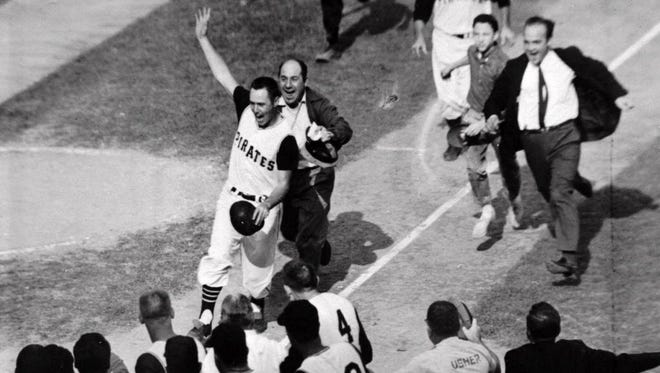 Bill Mazeroski after his World Series Game 7 home run against the Yankees in 1960.