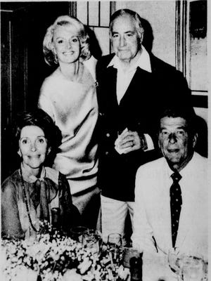 Barbara Sinatra on her wedding day with guests Ronald and Nancy Reagan and Walter Annenberg.
