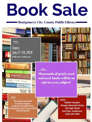 Montgomery book sale to occur July 27 and 28 from 8:30 am to 6:00 pm