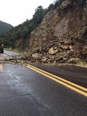 A view of the rockfall that closed SR 89 at milepost