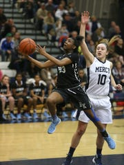 Bishop Kearney's Allure Simmons, left, and Mercy's Leah Koonmen, right, are two of Section V's top guards.