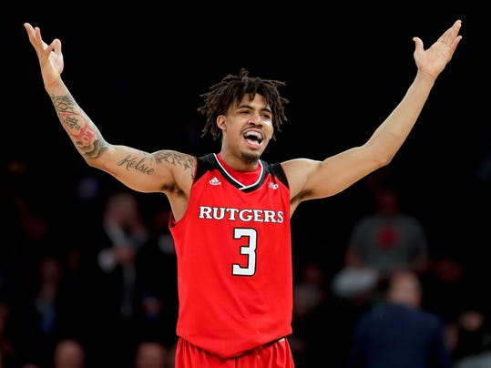 Rutgers guard Corey Sanders reacts after a turnover by Indiana during the second half of an NCAA college basketball game in the Big Ten men's tournament Thursday, March 1, 2018, in New York. Rutgers won 76-69. (AP Photo/Julie Jacobson)