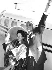 Lyndon Johnson and his wife, Lady Bird, made several