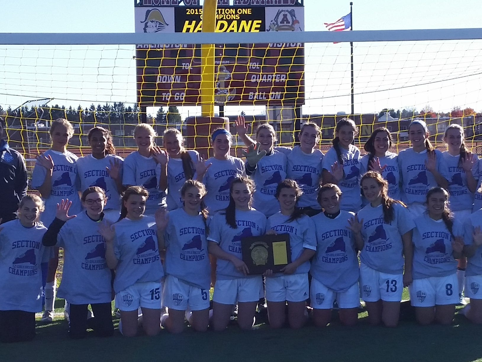 Haldane's girls soccer team poses after winning its fifth-consecutive Section 1, Class C title with a 6-2 win over Solomon Schechter on Friday, October 30th, 2015 at Arlington High School.