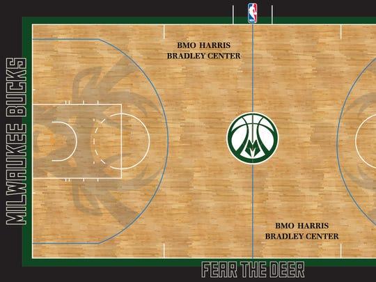 "The Milwaukee Bucks' ""Fear the Deer"" court."