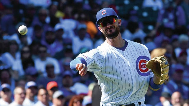 An arbitrator has determined that the Chicago Cubs have two remaining seasons of control of third baseman Kris Bryant (17), following his grievance that the team delayed his 2015 major league debut to manipulate his free agency.