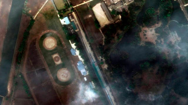 This April 21 satellite image provided by Maxar Technologies shows the Leadership Railway Station in Wonsan, North Korea. North Korean leader Kim Jong Un's train has been parked at the Leadership Railway Station servicing his Wonsan compound since at least April 21, the website 38 North said Saturday, citing an analysis of recent satellite photos of the area. The website said that the approximately 250-meter (820-foot) -long train wasn't present on April 15 but was present on both April 21 and 23.