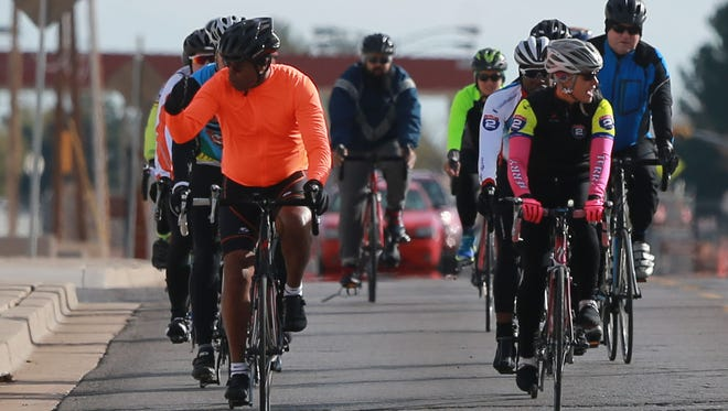 A group of cyclists with the Ride 2 Recovery program take a ride throughout Fort Bliss. Ride 2 Recovery offers several programs including a challenge series, honor rides and Project HERO (Healing Exercise Rehabilitation Opportunity), a program that helps to restore hope and purpose for all veterans through cycling.