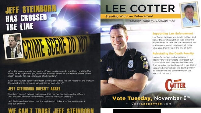 Sen. Lee Cotter, a Las Cruces Republican, sent a mailer this week attacking his opponent, Rep. Jeff Steinborn, a Las Cruces Democrat, on the death penalty issue.