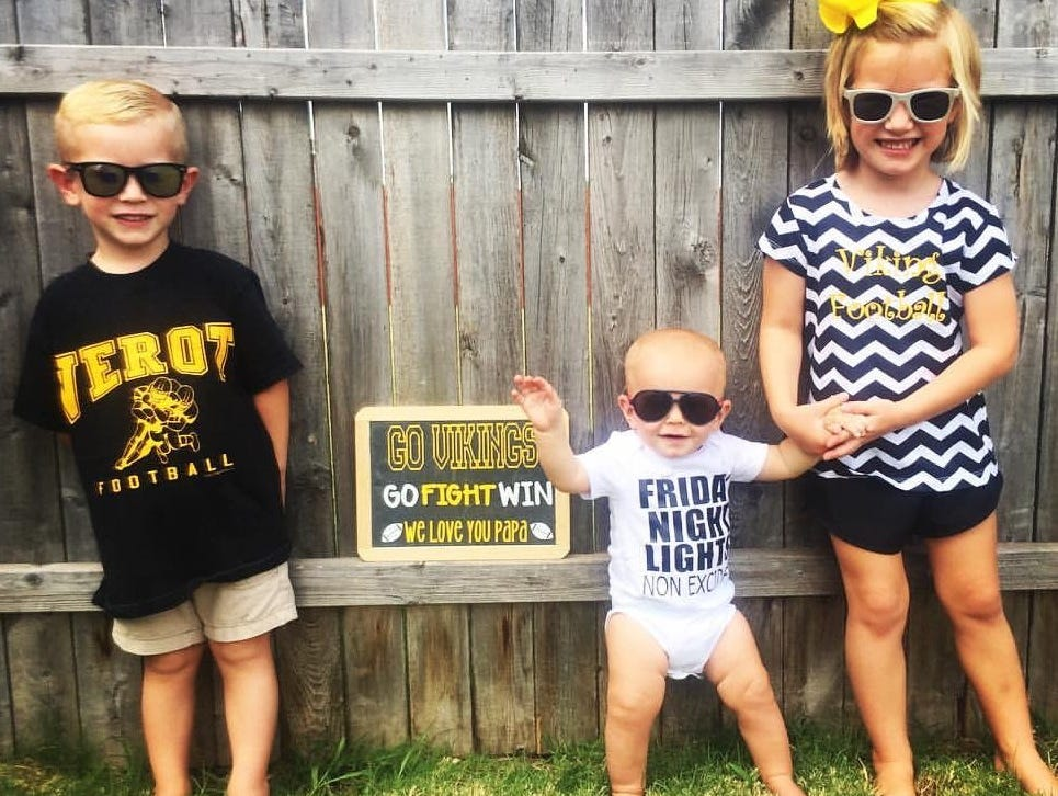 Bishop Verot football coach Bill Shields' grandchildren, who live in Oklahoma, send a photo to him before every game.