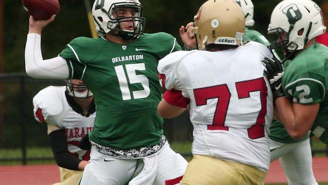Delbarton quarterback Matt Zebrowski (15) throws against Mount Olive on Oct. 3, 2015