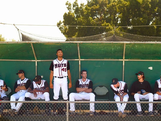 A bullpen photo of Class-A Modesto Nuts.