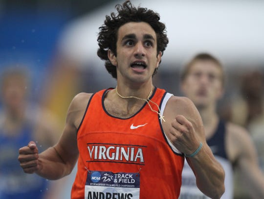 Robby Andrews won the 800 meters at Drake Stadium when