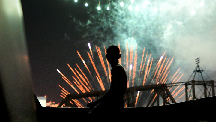 Terry Antee watches the fireworks at the Independence