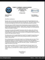 A screenshot of the letter from Fort Campbell High School principal Hugh McKinnon posted to Facebook.