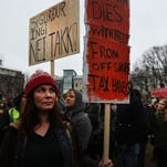 Protesters gather on April 6, 2016 in Reykjavik. Iceland's prime minister stepped down in the wake of the release of the Panama Papers.