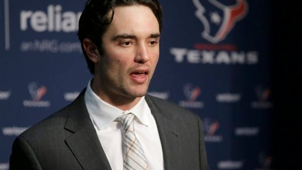This Jan. 14, 2017, file photo shows Houston Texans quarterback Brock Osweiler speaking to the media following an NFL divisional playoff football game against the New England Patriots in Foxborough, Mass. The Houston Texans were desperate to find a franchise QB so they lured Brock Osweiler away from Denver by giving him a $72 million contract last year. He flopped. (AP Photo/Steven Senne, File)