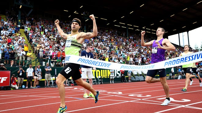 Nick Symmonds wins the 800 meter race Sunday at the U.S. track and field championships at Hayward Field in Eugene.