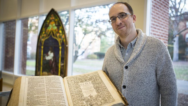 "Graduate student Brian Shetler found this rare first-edition 1611 King James ""He"" Bible in a stored in a box while working at the Drew University Library."