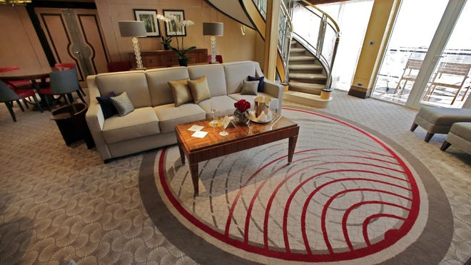 This is the Queens Grill Balmoral Suite living room aboard the cruise liner Queen Mary 2.