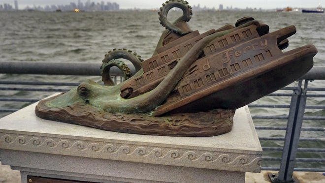The New York City cast bronze faux monument by artist Joseph Reginella is dedicated to the memory of the victims of the steam ferry Cornelius G. Kolff.