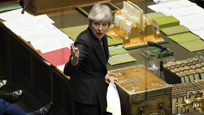 Britain's Prime Minister Theresa May speaks during Prime Minister's Questions in the House of Commons, London, Wednesday March 20, 2019.