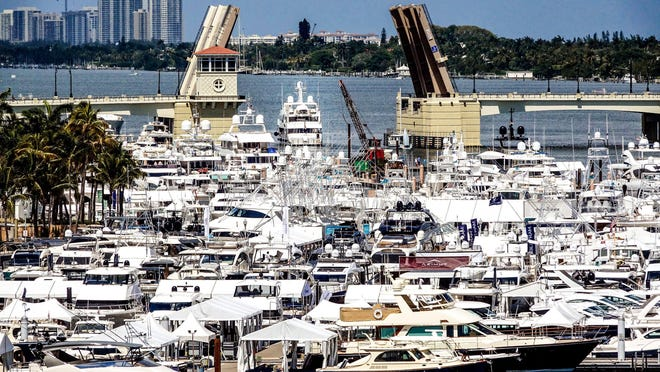 Big boats, small boats, yachts and superyachts are all cruising into West Palm Beach, Monday, March 25, 2019, for The Palm Beach International Boat Show starting March 28 for four days.