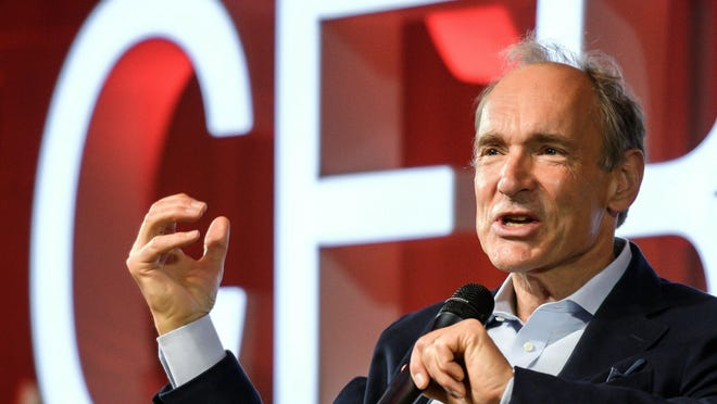 English computer scientist Tim Berners-Lee, best known as the inventor of the World Wide Web, delivers a speech during an event at the CERN in Meyrin near Geneva, Switzerland, in March 2019 marking 30 years of World Wide Web.