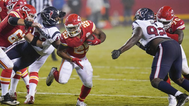 Kansas City running back Clyde Edwards-Helaire carries the ball against the Texans in the second half of Thursday's game.