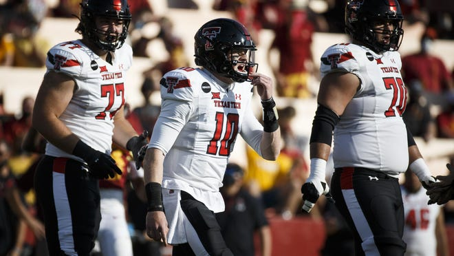 Texas Tech quarterback Alan Bowman (10) calls out a play during the Red Raiders' 31-15 loss Saturday at Iowa State. Bowman threw for only 97 yards and no touchdowns and was pulled in the fourth quarter.
