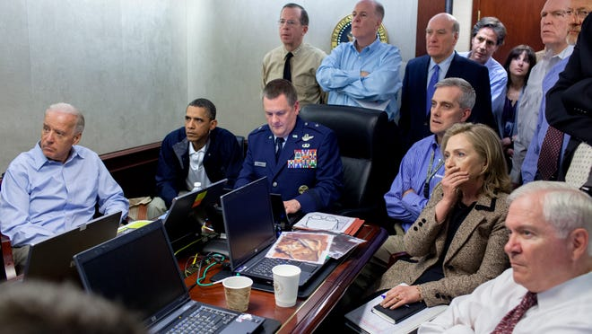 The White House Situation Room on the night Osama bin Laden was taken out.