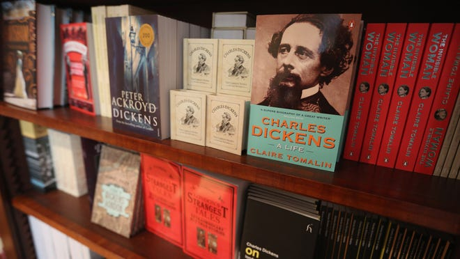 Books by, or relating to, Charles Dickens are for sale inside the Charles Dickens Museum in London, England.