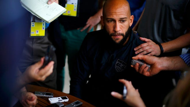 U.S. national soccer team goalkeeper Tim Howard meets with the media before a training session on Saturday in Sao Paulo.